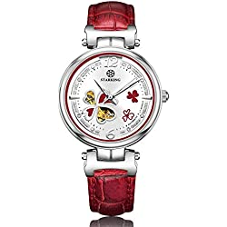 STARKING Women's AL0200SL51 Clover Automatic Skeleton H-Bar Watch with Red Leather Strap