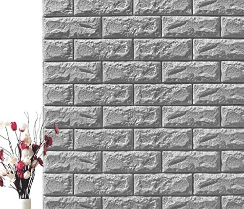 3D Schiefer Stein Ziegel Effekt Tapete Waschbar Schlafzimmer Dekor Selbstklebende Tapete , Vinyl Natur (Color : A, Size : 12PCS) - Schiefer Stein Ziegel