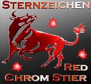 3d sternzeichen aufkleber stier autoaufkleber chrom metall effekt aufkleber farbe rot. Black Bedroom Furniture Sets. Home Design Ideas