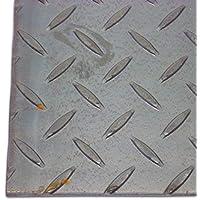 B&T Metall Stahl Tränen-Blech blank, Eisen St 37 | 3,0 mm stark | Riffel-Blech als Zuschnitt Größe 1000 x 1000 mm (100 x 100 cm)
