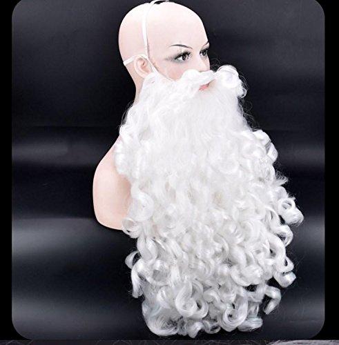 HAPPYMOOD Weihnachten Weiß Perücke -Weihnachtsmann Perücke mit Bart Weihnachten Halloween Karneval Cosplay Lockig Stilvoll Voller Kopf Perücke mit freier Kappe , B