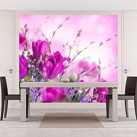 Rose & Violet Tulip Flowers Spring Floral Papier peint Nature Photo Wallpaper disponible en 8 tailles Gigantesque