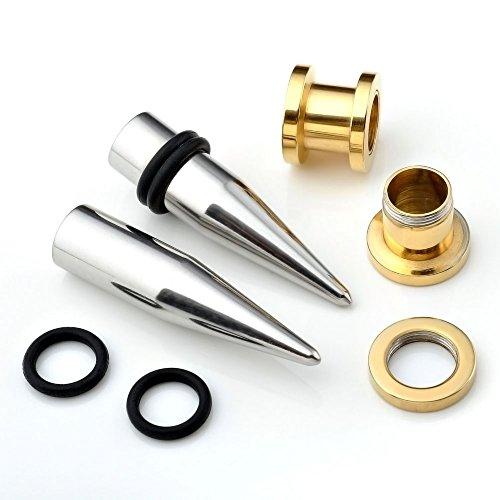 PiercingJ - 4PCS/Kits Acier Inoxydable Boucle Clou d'Oreille Tunnel Conique + Plug Ecarteur Expandeur Punk Rock Argent Or 2mm - 10mm Argent/Or 8mm