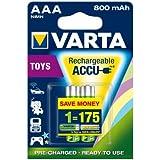 Varta TOY - Pack de 2 pilas AAA recargables  (NiMH, 800 mAh, pre cargadas)