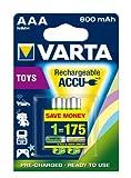 Varta toy Rechargeable Accu Ready To Use vorgeladener AAA Mignon NiMh Akku (2er Pack, 800 mAh, wiederaufladbar speziell für elektronisches Spielzeug entwickelt, wiederaufladbar ohne Memory Effekt sofort einsatzbereit)