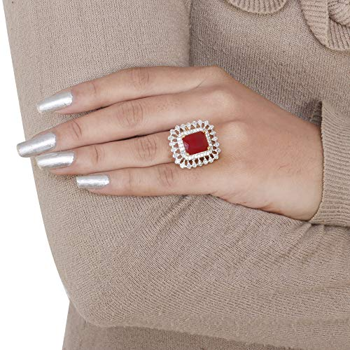 Aurachi Red Designer Stylish Fancy Party Wear Adjustable Cocktail Finger Ring for Girls and Women