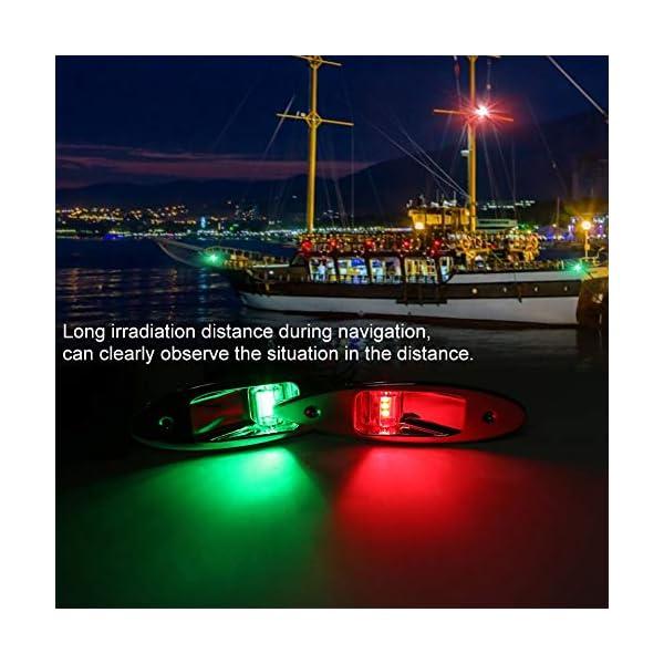Fydun 12V LED Flush Mount Side Bow Navigation Signal Light 2Pcs 120° Lamp for Marine Boat Yacht Green 61.5lm&Red 19lm 2