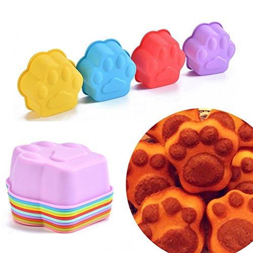 Lumanuby 10x Niedlich Hund Klaue Muffin Cup Wiederverwendbare Silikon Backförmchen für Muffins Brownies Cupcakes Pudding Seifen Formen 9*9*4.0cm Zufällige Farbe, Silikon Formen Serie Hund Cup