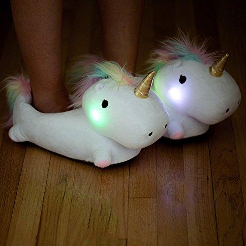 Pantofole/ciabatte magico unicorno illuminate/luminose taglia unica