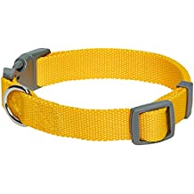 Umi. Essential Classic Solid Color Dog Collar in Yellow, Large, Neck 45cm-66cm, Adjustable Collars for Dogs