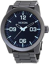 Nixon Herren-Armbanduhr XL Corporal SS Gunmetal Blue Crystal Analog Quarz Edelstahl A3461427-00