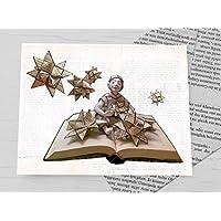 Weihnachtskarte, Klappkarte für Bücher liebende Leseratten, Adventskarte Weihnachtstern, Fröbelstern, mit handgemachtem Umschlag aus Buchseiten, Book Art Karte, zu Weihnachten, Karte mit Weihnachtssternen aus Buchseiten