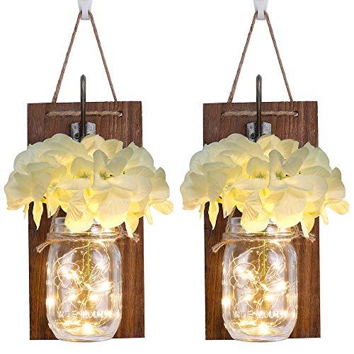 Anpro Rustikale Wandleuchter Mason Jar Set von 2 Stück, rustikale Home Decor Schmiedeeisen-Haken, warmweiße LED-Lichterkette und Seide Hortensien