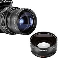 Neewer ~ 58MM grandangolo + 58mm teleobiettivo kit. ~ include lente Bags. Per Canon Rebel T1i XT XS xsi Xti + qualsiasi fotocamera con filettatura filtro da 58mm.