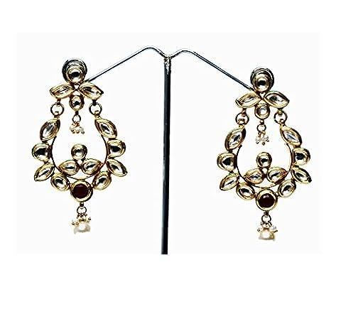 StyleDeco Designer Kundan Boucle d'oreilles Femmes (Ciondolano Clip)