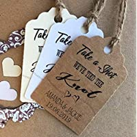 10X Personalised We Tied the Knot Take a Shot Wedding Favour Tags Thank You N3601