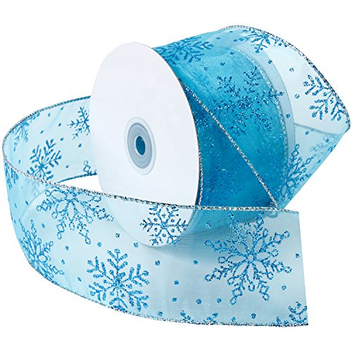 LaRibbons Schneeflocke Verdrahtetes Scharfes Glitterband, 63mm Breit x 4,5m Länge Jede Spule, - Thema Schneeflocken Gefroren