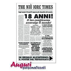 Idea Regalo - Biglietto compleanno auguri giornale 18 anni amico