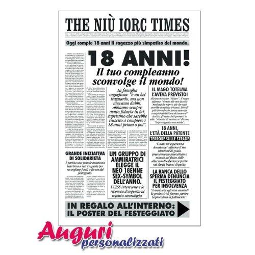 spesso Biglietto compleanno auguri giornale 18 anni amico UA82