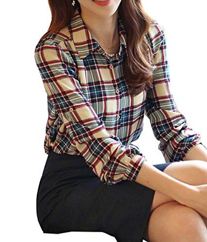 BININBOX Damen Hemd mit Kariertem Muster Plaid Button Down Bluse Slim Fit  Langarm Khaki