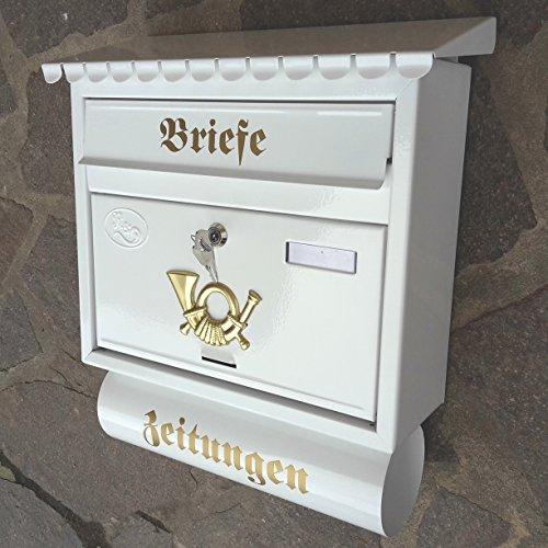 Großer Briefkasten / Postkasten XXL Weiß mit Zeitungsrolle Flachdach Katalogeinwurf Zeitungsfach