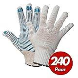 Polyester Strickhandschuhe KORL mit PVC Noppen Arbeitshandschuhe Handschuhe Noppenhandschuhe VPE 240 Paar, Größe:7 (S)