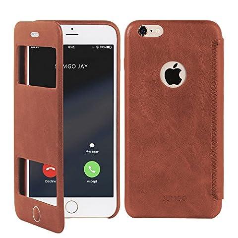 SUMGO® Apple iPhone 6 Plus, 6s Plus Hülle echt Leder Schutzhülle Flip Cover mit Sichtfenster View Back Case Tasche - in