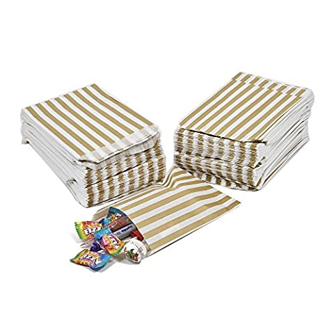 100 CANDY STRIPE PAPER BAGS SWEET FAVOUR BUFFET GIFT SHOP PARTY SWEETS CAKE WEDDING JeeJaan (7