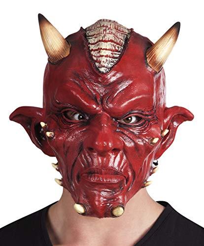 Karnevalsbud - Kostüm Accessoires Zubehör Latex Teufel Maske Deluxe mit Warzen Hörnern und Irokesen-Frisur, Devil Mask with Horns and Iroquois, perfekt für Halloween Karneval und Fasching, Rot