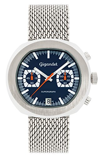 Gigandet Supergraph Men's Quartz Watch Chronograph Analogue Date Silver Blue G11-003