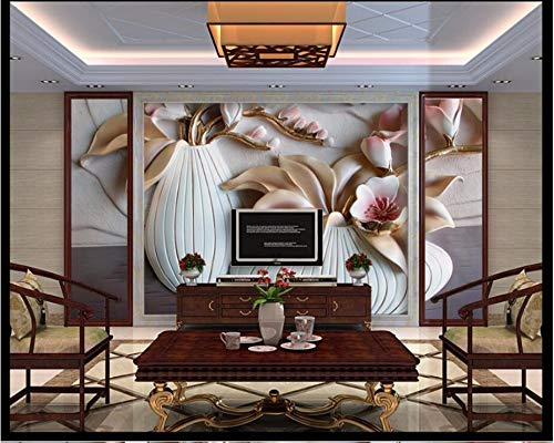 ierte 3D Wandbilder Phalaenopsis Geprägte Dekorative Paintingg Vase 3D Tapeten Wandbilder Tapete Für Wohnzimmer Sofa Tv Wand Schlafzimmer Küche-400X280cm ()