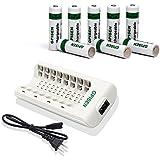 GPISEN NI-MH AA2800mAh 8  piezas Batería Recargable  con Cargador(8 Bay/ranura) para Ni-MH/Ni-CD AA/AAA
