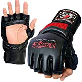 BeSmart Auth. Rex Leather MMA Grappling Gloves Boxing Punch Bag UFC Gel Tech Muay Thai G (Red Mesh, Medium)