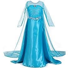 JZK® Frozen Elsa Traje vestido niño niña Vestido de lujo de la princesa encima del traje, 5-6 años, altura adecuada 105 ~ 110 cm, Niños niñas Fiesta de la semana del libro Traje halloween accesorios