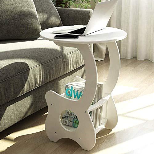 Jazi Zuhause/Möbel/Wohnzimmer Dekoration Laptop-Tisch runden Beistelltisch Kleine Zeitungsständer Couchtisch mit Ablage Wohnzimmer Schlafzimmermöbel Weiß Drop-Leaf-Tisch -