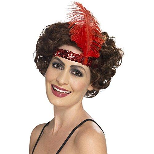 Amakando Charleston Haarband mit Feder - rot - Gatsby Haarschmuck Stirnband 20s Flapper Haarband Goldene Zwanziger Kostüm Accessoire 20er Jahre (Goldenen Zwanziger Jahre Kostüme)