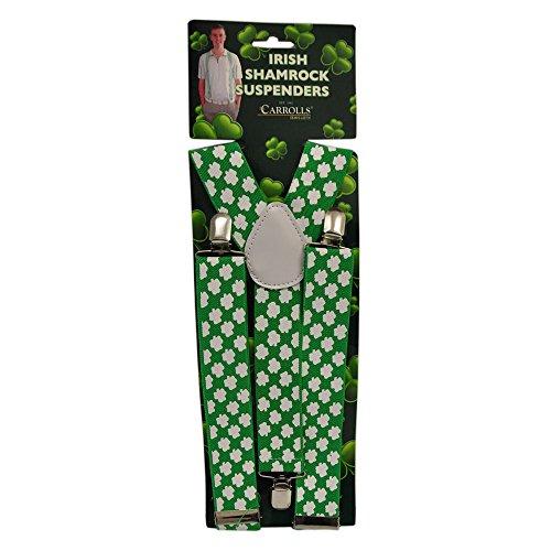 Green St. Patrick's Day Suspenders With White - St Patricks Fancy Dress Kostüm
