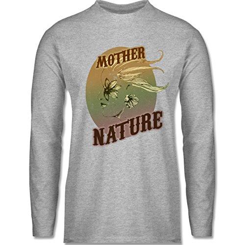 Vintage - Mother Nature - Longsleeve / langärmeliges T-Shirt für Herren  Grau Meliert