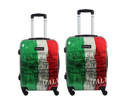 Coppia di 2 trolley da cabina - Valigie rigide 4 ruote in abs policarbonato supe leggero - Approvato dalle compagnie low-cost art tricolore