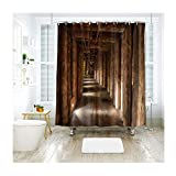 Beydodo Bad Vorhang für BadezimmerHolz Korridor Lustiger 3D Duschvorhang 120x180