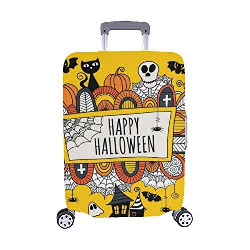 (Nur abdecken) Halloween Doodle Wörter Happy Staubschutz Trolley Protector case Reisegepäck Beschützer Koffer Cover 28,5 X 20,5 Zoll (Happy Für Worte Halloween)