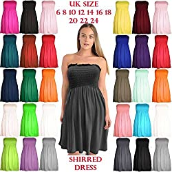 The Celebrity Fashion Womens Strapless Flared Smoken Sheering Boob Tube Bandeau Top Shirred Summer Dress