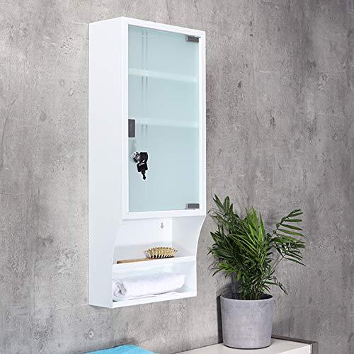 SIDCO Medizinschrank mit Glastür Hausapotheke XXL Schrank weiß abschließbar 65x27cm