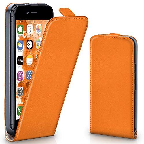 iPhone 6S Hülle Schwarz [OneFlow 360° Klapp-Hülle] Etui thin Handytasche Dünn Handyhülle für iPhone 6/6S Case Flip Cover Schutzhülle Kunst-Leder Tasche CANYON-ORANGE