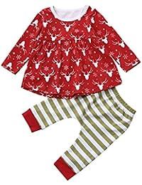 K-youth® Navidad Christmas Invierno Bebe Niña Manga Larga Vestido y Pantalones Conjuntos