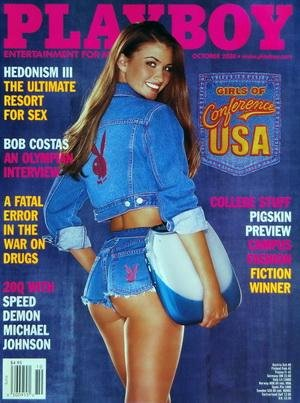 PLAYBOY EDITION US du 01/10/2000 - HEDONISM III THE ULTIMATE RESORT FOR SEX - BOB COSTAS - A FATAL ERROR IN THE WAR ON DRUGS - SPEED DEMON MICHAEL JOHNSON - COLLEGE STUFF / PIGSKIN PREVIEW - CAMPUS FASHION