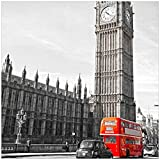 Wallario Magnet für Kühlschrank/Geschirrspüler, magnetisch haftende Folie - 60 x 60 cm, Motiv: London Red Bus