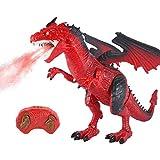 Womdee Elektrische Dinosaurier Fernsteuerungsspielzeug,RC Dinosaurier-Modell mit Spitfire, Gehen, Brüllen, Beleuchtet, Kopf schütteln und Flügelschlagfunktionen, Kinder (Rot)