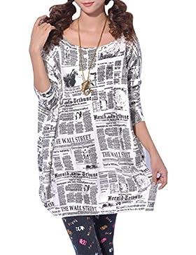 ELLAZHU periódico de las señoras vestido de jersey de punto impreso SZ44 Gris