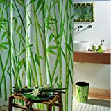 Spirella Anti-Schimmel Duschvorhang Anduze Bambus - Anti-Bakteriell, waschbar, wasserdicht - Polyester, 180x200cm